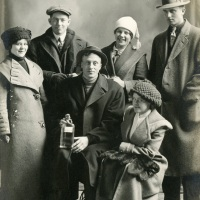 Albin Lindall and friends on a wintry day in Minnesota