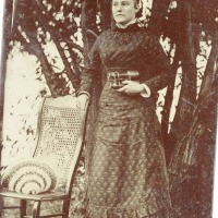 Woman with Civil War (period) binoculars