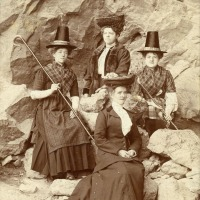 Ladies in Welsh national dress at the Rock Studio, Llandudno